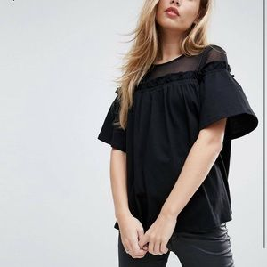 ASOS Top w/ Mesh Detail and Swing Hem